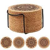 Cabilock 12Pcs Kork Untersetzer Wiederverwendbare Saugfähigen Tasse Coaster Holz Mandala Eco- Freundliche Untertassen Runde Hot Pot Halter Pads mit Rack für Kaffee Home Bar Küche Restaurant