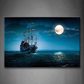 First Wall Art - Blue Boat On Seascape and Moon in The Sky Wall Art Painting The Picture Print On Canvas Car Pictures for Home Decor Decoration Gift