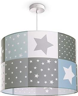 Paco Home Luminaria Infantil De Techo LED Suspendida Dormitorio Infantil Estrella E27, Pantalla de lámpara:Azul (Ø45.5 cm), Tipo de lámpara:Lámpara Colgante Blanco