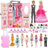 Miunana 44 muebles para muñecas = 1 armario + 8 vestidos + 10 zapatos + 10 perchas + 10 accesorios + 1 maleta para...