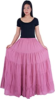 Lannaclothesdesign Women's Cotton Long Ruffle Full Circle Long Skirts Maxi Skirt
