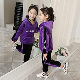 Autumn Winter Sports Suit Children Clothing Set Girls Thick Velvet Hoodies+Pants boy Kids Tracksuit