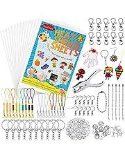 Auihiay 221 piezas de plástico retráctil incluye 20 hojas transparentes de papel artístico encogido, perforador y llaveros accesorios para manualidades infantiles
