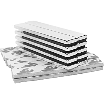 60x10x5mm-6pc Magneti Neodimio,Tonpop 8 pezzi Calamite Magneti Adesivi 60 x 10 x 3mm Magneti Frigo con nastro adesivo di marca 3M,Lavagna Magnetica per calamite
