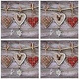 Tovaglioli a 3 veli, 33 x 33 cm, 40 pezzi, tovaglioli a forma di cuore con stella alpina, tovaglioli quotidiani, fiori, città, rustic Hearts, tovaglioli di carta