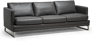 Baxton Studio Dakota Leather Modern Sofa, Pewter Gray