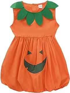 ModnToga Baby Girls' Halloween Outfit Cute Pumpkin Costume Sleeveless Dress Set