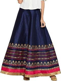 Semi-Dupion Block Printed Bias Skirt