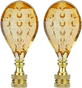 Aisicondan 2Pcs Champagne Raindrops Crystal Lamp Finial 2-3/4 Inch Lamp Shade Finial Decoration Accessories with Polished Brass Base