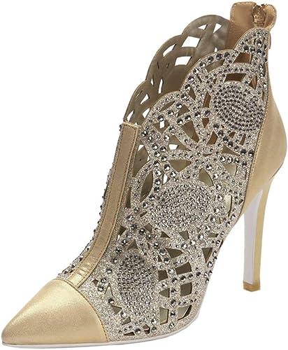 ZHRUI Las mujeres de Moda Puntiagudos Recortes del Dedo del pie con Diamantes de imitación Zip Sandalias Bombas