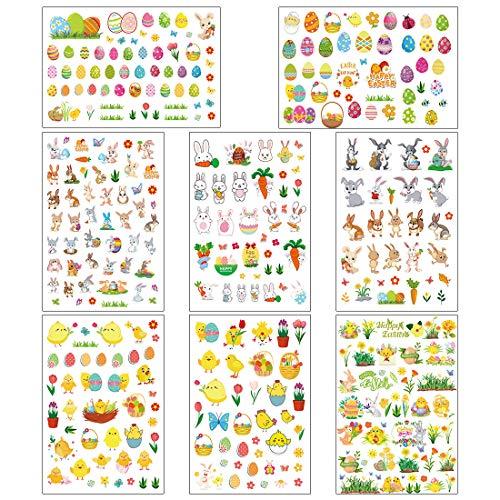 Ostereier Aufkleber, 8 Stück Oster Sticker, Osterhasen Ostereier Küken Blumen für Kinder Osterdeko, Osterdekoration