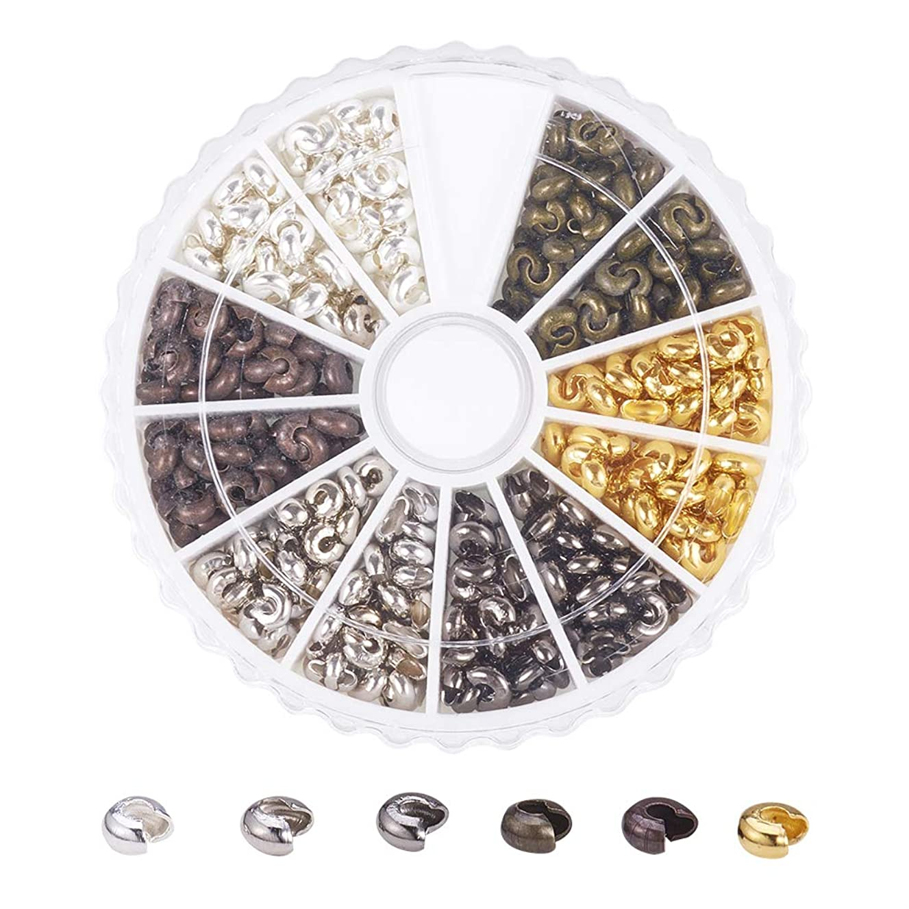 PandaHall Elite About 590 Pcs Iron Crimp Beads Covers Cord End Caps Width 3mm for Jewelry Making 6 Colors