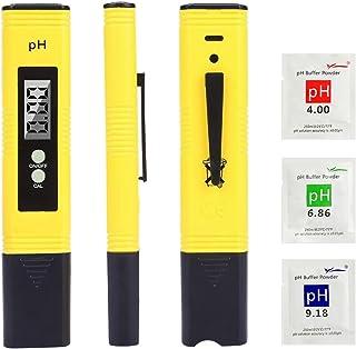 Digital de Mano PH Tester, Calidad del Agua Medidor de Prueba con Rango de Medición de pH de 0-14,para agua potable doméstica, piscina, hidroponía, agua de acuario, pH con ATC