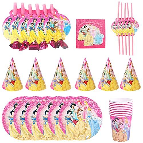 Ksopsdey Juego de 62 piezas de suministros para fiesta de princesa, incluye platos de postre, tazas y servilletas para niñas, cumpleaños, bodas, princesas, vajillas (10 invitados)