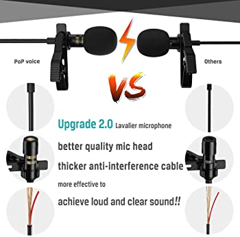 PoP voice Professional Lavalier Lapel Microphone Omnidirectional Condenser Mic for iPhone Android Smartphone,Recordin...