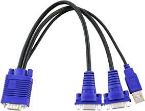 CKLau VGA Monitor Y Splitter Cable 1 Male to 2 Female with Amplifier Chip Inside for Screen Duplication - 1 Foot, Transfer Distance up to 98ft