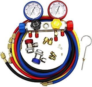KIPA AC Manifold Gauge Set R12 R22 R134A R410A 4 Ways HVAC Diagnostic Tool Kit Refrigeration Service Components Inlcuding Refrigerant Charging Pressure Hoses 1/4