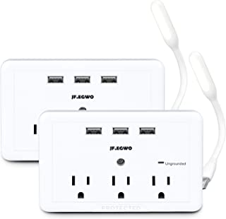 2 Pack Multiple Wall Plug USB Outlet Outlet Extender, 3 AC Outlets 3 USB Wall Charger Outlet Plugs, Wall Mount Surge Protector Outlet USB Charging Port, 918 Joules Outlet Adapter by JF.EGWO, White