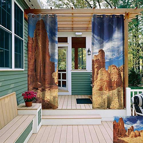 leinuoyi Desert, Porch Curtains Outdoor Waterproof, Bizarre Sandstone Cliffs in Sahara Desert Tassili NAjjer Algeria, for Gazebo W72 x L96 Inch Navy Blue Mustard Orange