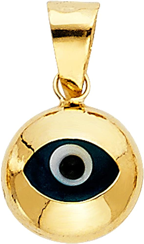 14k REAL Yellow Gold Evil Eye Charm Pendant