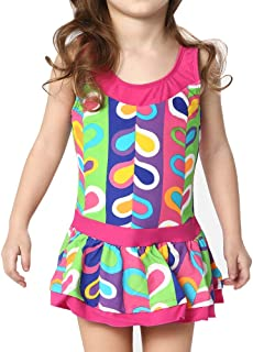 Karrack Little Girls Frilly Skirt One Piece Athletic Swimsuits Kids Rash Guard Swimsuit