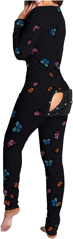 Onesie Pajamas for Women with Butt Flap, Womens Onesie Pajamas Women'S Bodycon Jumpsuit Pajamas Sexy Onesies V-Neck Button Down Bodysuit Slim Fit Women Romper