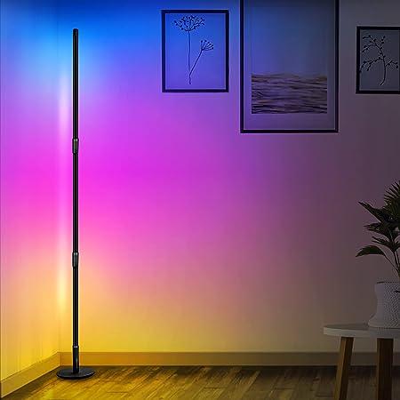 Aney Well Lampadaire LED, 2800LM 20W Lampe Salon avec télécommande, RGB Lampadaire Salon sur Pied D'angle Lampe Couleurs Réglable pour Chambre Salon, Base ronde