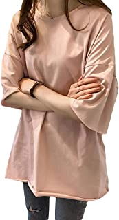 MLbosstシャツ レディース 半袖 トップス 薄手 カットソー 韓国ファッション 大きいサイズ 夏物 ロング丈 無地