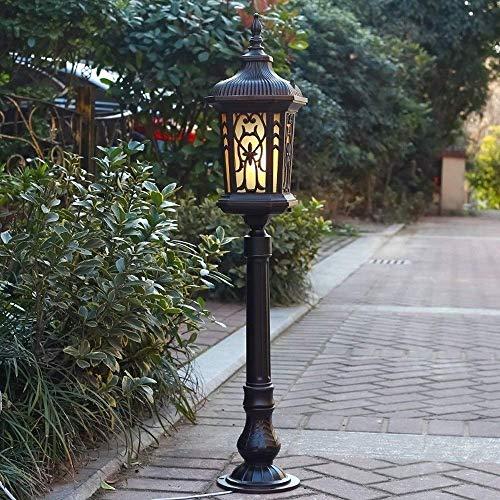 YQGOO 0.9M Poste lámpara para Exteriores Luces a Prueba Lluvia Paisaje Aluminio Lámpara Calle Poste Alto Lámpara Columna Pilar Vidrio para Valla Patio Jardín Paisaje E27