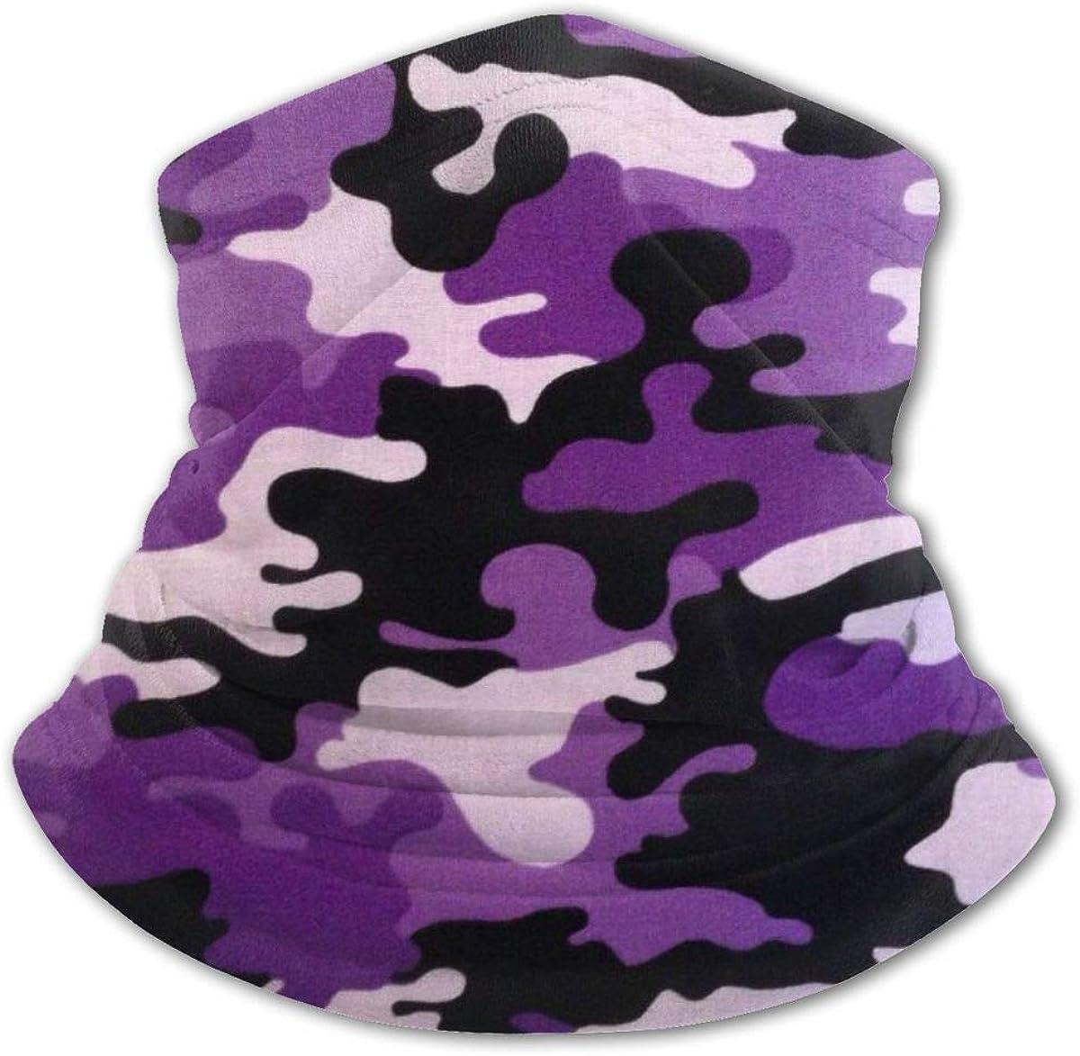 Purple Camouflage Headwear For Girls And Boys, Head Wrap, Neck Gaiter, Headband, Tenn Fishing Mask, Magic Scarf, Tube Mask, Face Bandana Mask For Camping Running Cycling