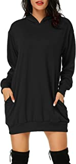 Auxo Femme Sweat à Capuche Longue Hoodie Casual Manches Longues Pull Chic Ample Haut Automne Hiver Sweat-Shirt Pullover