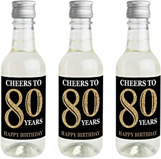 Adult 80th Birthday - Gold - Mini Wine and Champagne Bottle Label Stickers - Birthday Party Favor Gift for Women and Men - Set of 16
