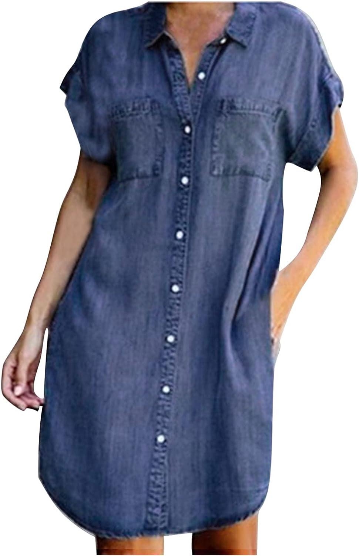 Women Denim Shirt Dresses Short Sleeve Roll Up Distressed Jean Dress Button Down Casual Tunic Short Dress Knee Length
