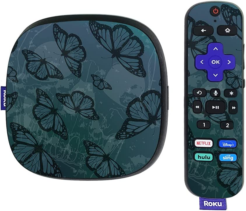 MightySkins Skin Compatible with Roku Ultra HDR 4K Streaming Media Player (2020) - Dark Butterfly   Protective, Durable, and Unique Vinyl Decal wrap Cover   Easy to Apply   Made in The USA