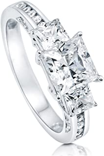 Rhodium Plated Sterling Silver Princess Cut Cubic Zirconia CZ 3-Stone Anniversary Promise Engagement Ring 2.64 CTW