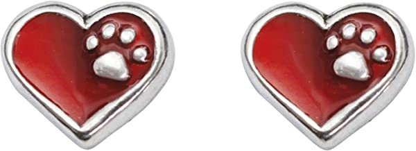 product image for Rockin Doggie Pewter Heart Earrings, Red with Paw