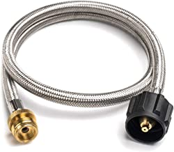 SHINESTAR 1690 Bulk Tank Adapter Hose, 3 Foot Stainless Steel Braided Propane Adapter Hose Gas Tank Converter Replacement for Blackstone Table Top Grill and Other Small Gas Appliance