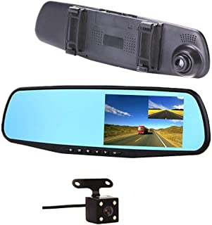 Car Camera Dual Lens Upgraded 4.3 inch Car DVR Front And Rearview Mirror Video Recroder 170 Degree Wide Angle Lens with Wa...