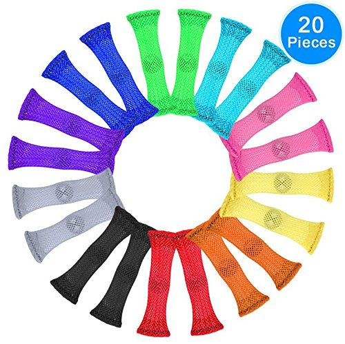 AUSTOR 20 Pieces Fidget Toys Relieve Stress Increase Focus Sensory Marble and Mesh Fidgets for Adults and Children with ADHD ADD OCD Autism, 10 Colors
