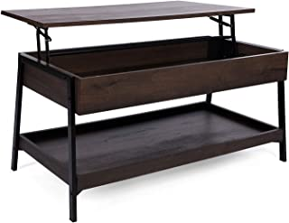 Sekey Home Lift Top Coffee Table, 2-Tier Cocktail Table with Hidden Storage for Living Room, Wood Look Accent Furniture,Smoky Oak