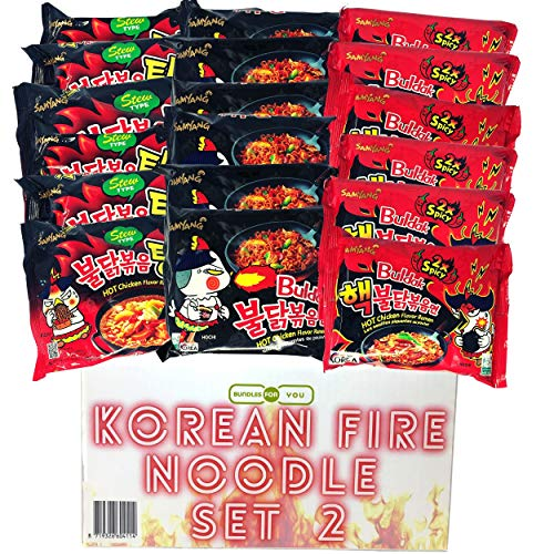 BUNDLES FOR YOU - Samyang Hot Ramen Noodles - Schärfste Nudeln der Welt Set - Vorteilspack (18x140g) 6 statt 5 Portionen pro Sorte - Korean Fire Noodle Set 2