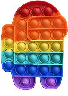 اسباب بازی LAVONE Fidget، Push Pop Bubble Fidget Sensory اسباب بازی Push Pop Fidget برای کودکان بزرگسال، اسباب بازی سیلیکون استرس - رنگین کمان