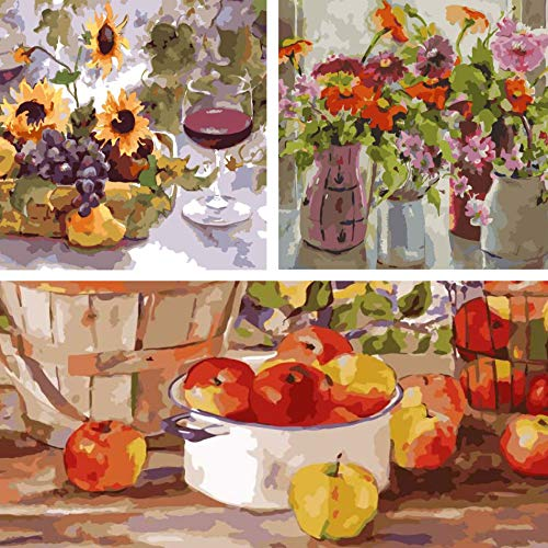 Paint by Numbers for Adults: Beginner to Advanced Number Painting Kit - Fun DIY Adult Arts and Crafts Projects Kit Include 16' x 20' Unframed   October   Apple Harvest   Sumer Wine