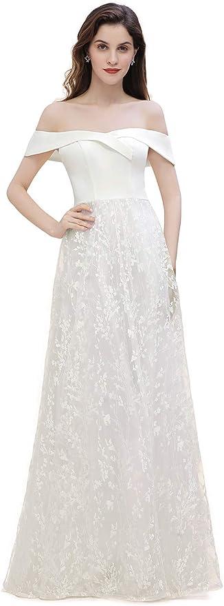 Misshow Damen Elegant Carmen Ausschnitt Blumenbesticktes Hochzeitskleid Brautkleid Ballkleid Langarm Festlich Kleid Elfenbein 32 Amazon De Bekleidung