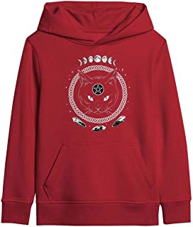 Black Goth Hail Satan Cat 666 Moon Youth Boys Girls Colorful Sweatshirt Kangaroo Pocket Adjustable Drawstring on Hood