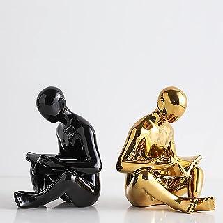 Ceramic Reading Bookend 1 Pair,Ceramics Bookend, Ambipolar Decorative Bookend,Decorative Figurine Accent Piece For Home,Of...
