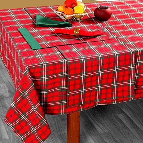 Homescapes karierte Tischdecke mit Tartan-Muster, rot, 100% Baumwolle, eckiges Tischtuch für Esstisch oder Küchentisch mit Schottenmuster, 137 x 228 cm