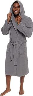 Men's Lightweight Cotton Terry Robe - Luxury Hooded Bathrobe w/Shawl Collar
