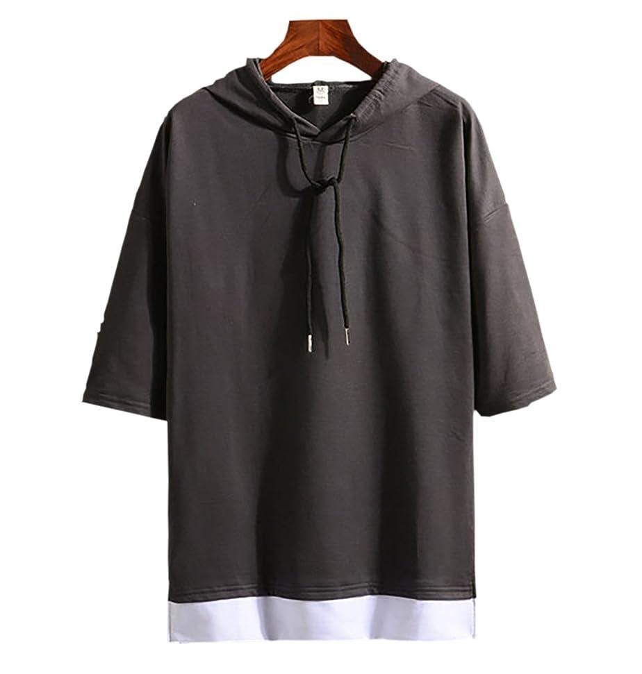 宝石トラブルトランスミッション(Make 2 Be) メンズ 7分袖 Tシャツ フード付き ゆったり ドロップショルダー レイヤード カジュアル シャツ プルオーバー MF74