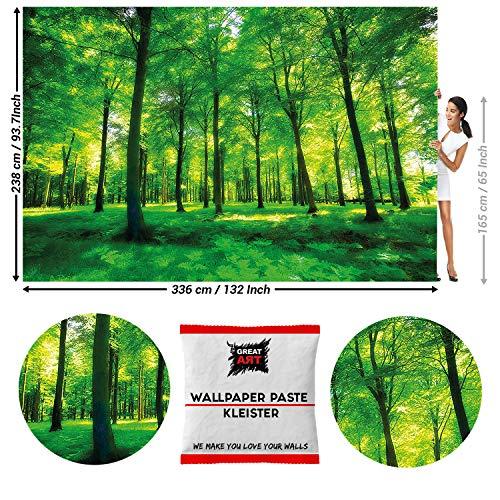 Great Art fotobehang groen bos Natuur 336 x 238 cm - 8 Teile + Kleister bos